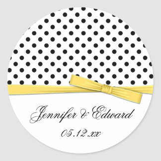 Black White Polka Dots Yellow Save The Date Round Sticker