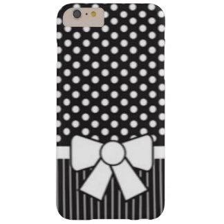 Black White Polkadot Stripe Pattern Print Barely There iPhone 6 Plus Case