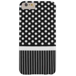 Black White Polkadot Stripes Pattern Print Design Barely There iPhone 6 Plus Case