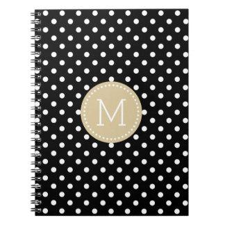 Black & White Polkadots Pattern Blue Accent Notebook