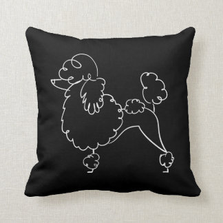 Black White Poodle Doodle Throw Pillow