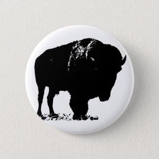 Black & White Pop Art Bison Buffalo 2 Inch Round Button
