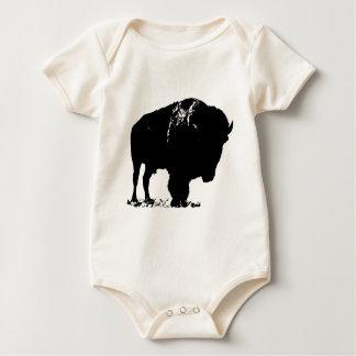 Black & White Pop Art Bison Buffalo Baby Bodysuit