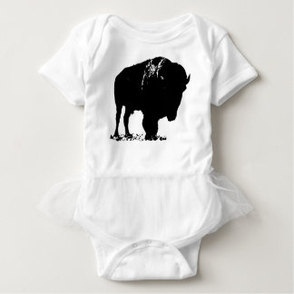 Black & White Pop Art Bison Buffalo Baby Bodysuit