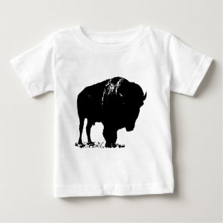 Black & White Pop Art Bison Buffalo Baby T-Shirt