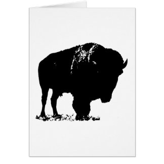 Black & White Pop Art Bison Buffalo Card