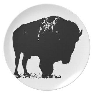 Black & White Pop Art Bison Buffalo Dinner Plates