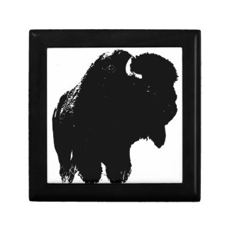 Black & White Pop Art Bison Buffalo Gift Box
