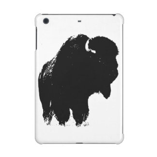 Black & White Pop Art Bison Buffalo iPad Mini Retina Covers