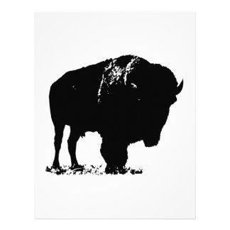 Black & White Pop Art Bison Buffalo Letterhead