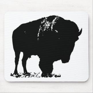 Black & White Pop Art Bison Buffalo Mouse Pad
