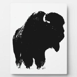 Black & White Pop Art Bison Buffalo Plaque
