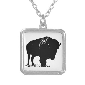 Black & White Pop Art Bison Buffalo Silver Plated Necklace