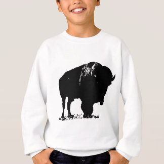 Black & White Pop Art Bison Buffalo Sweatshirt