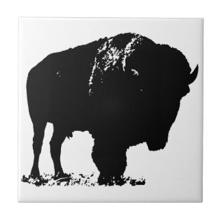Black & White Pop Art Bison Buffalo Tile