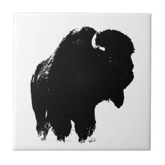 Black & White Pop Art Bison Buffalo Tile