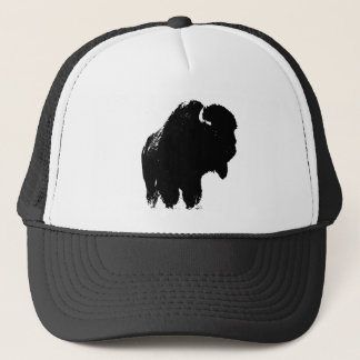 Black & White Pop Art Bison Buffalo Trucker Hat