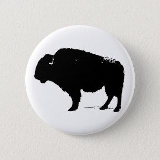 Black & White Pop Art Buffalo Bison 2 Inch Round Button