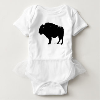 Black & White Pop Art Buffalo Bison Baby Bodysuit