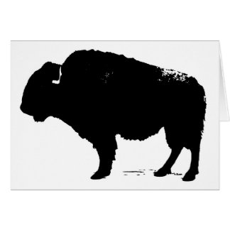 Black & White Pop Art Buffalo Bison Card