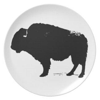 Black & White Pop Art Buffalo Bison Dinner Plate