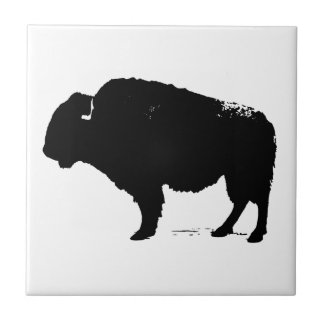 Black & White Pop Art Buffalo Bison Tile
