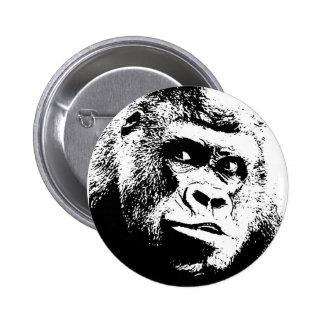Black White Pop Art Gorilla 2 Inch Round Button