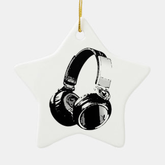 Black & White Pop Art Headphone Ceramic Star Ornament
