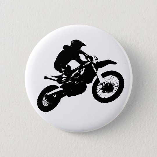 Black White Pop Art Motocross Motorcyle Sport 2 Inch Round Button