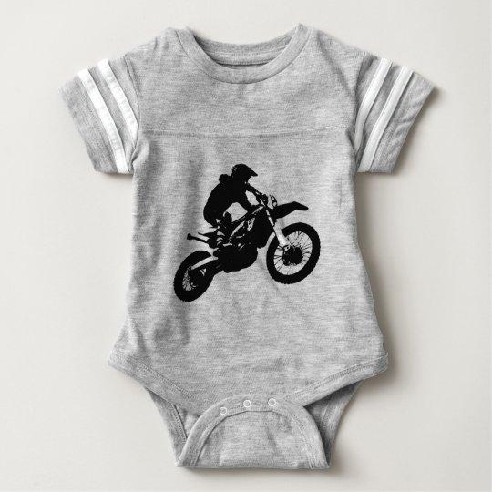 Black White Pop Art Motocross Motorcyle Sport Baby Bodysuit