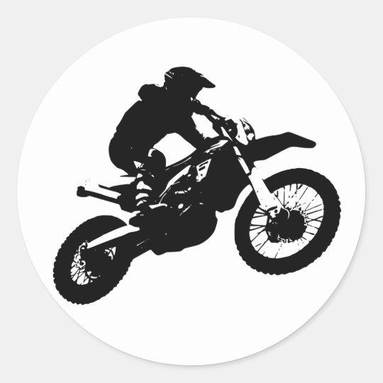 Black White Pop Art Motocross Motorcyle Sport Classic Round Sticker