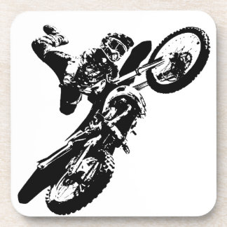 Black White Pop Art Motocross Motorcyle Sport Coaster