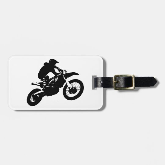 Black White Pop Art Motocross Motorcyle Sport Luggage Tag