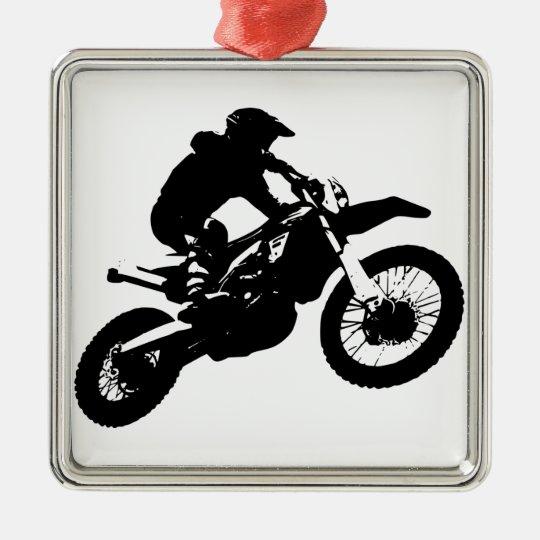 Black White Pop Art Motocross Motorcyle Sport Metal Ornament