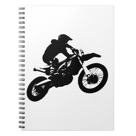 Black White Pop Art Motocross Motorcyle Sport Notebook