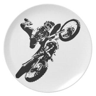 Black White Pop Art Motocross Motorcyle Sport Plate