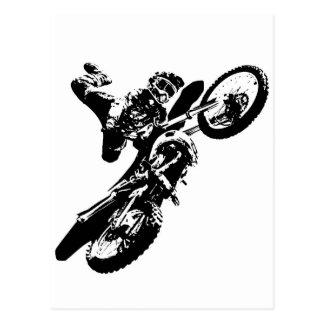 Black White Pop Art Motocross Motorcyle Sport Postcard