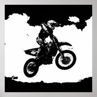 Black White Pop Art Motocross Motorcyle Sport Poster