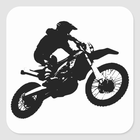 Black White Pop Art Motocross Motorcyle Sport Square Sticker