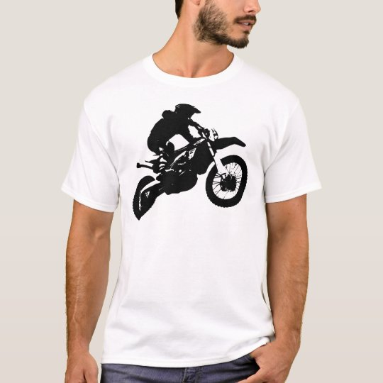 Black White Pop Art Motocross Motorcyle Sport T-Shirt