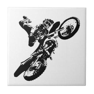 Black White Pop Art Motocross Motorcyle Sport Tile