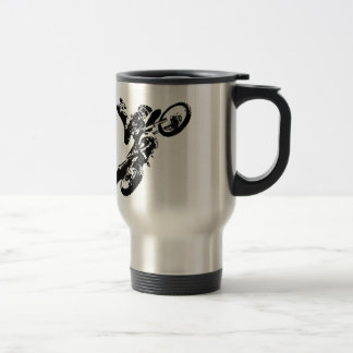 Black White Pop Art Motocross Motorcyle Sport Travel Mug
