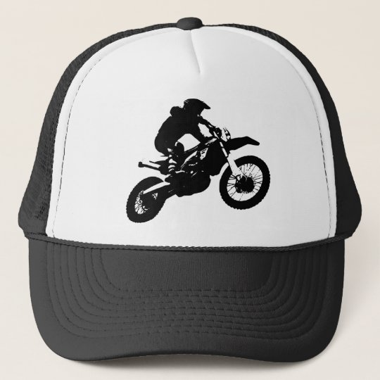Black White Pop Art Motocross Motorcyle Sport Trucker Hat