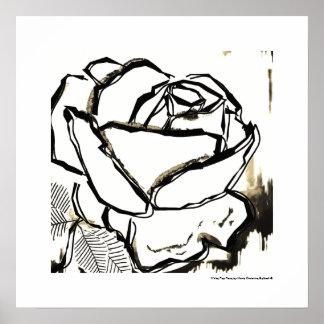 Black White Pop Art Rose Deco Flower Poster Prints