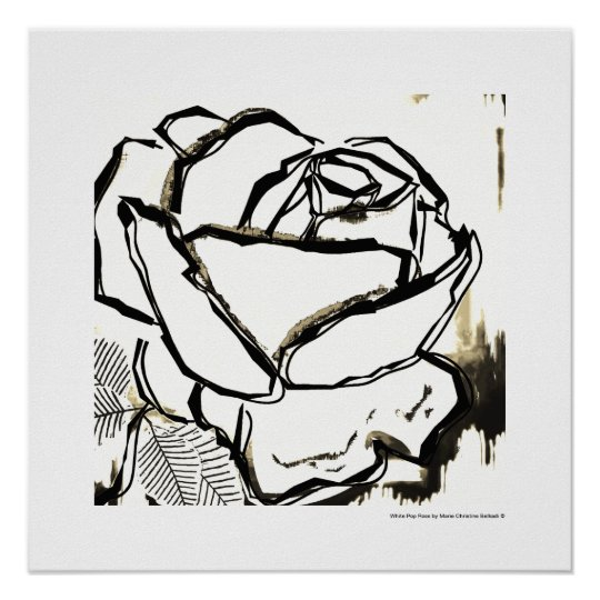 Black White Pop Art Rose Deco Flower Poster Prints