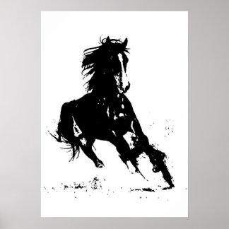 Black White Pop Art Running Horse Silhouette Poster