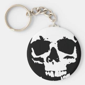 Black & White Pop Art Skull Stylish Cool Keychain