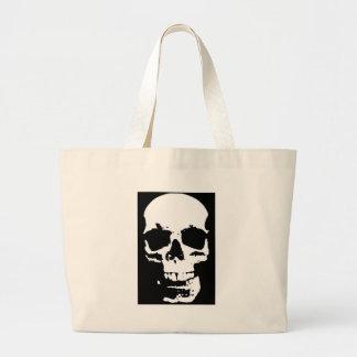 Black & White Pop Art Skull Stylish Cool Large Tote Bag