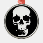 Black & White Pop Art Skull Stylish Cool Metal Ornament
