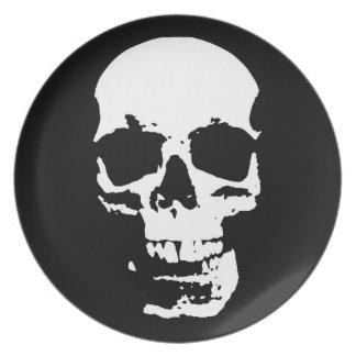 Black & White Pop Art Skull Stylish Cool Plate